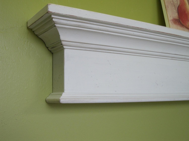 fire place wooden mantel shelf 48 long shabby paint