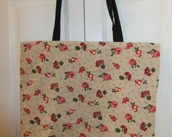 Tan Print Cotton Tote, Fruit and Floral Print