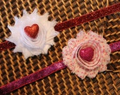 Set of two Valentine's Day Shabby Headbands/Hair clips  for newborn/baby girl