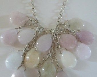 """Cascade candy-colored jade briolettes in a triangle of Argentium silver chain wired onto 18"""" more chain and add double jade earrings-sweet!"""