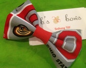 Buckeye Inspired Bow Ties or Fabric Hair Bows Sports Football