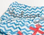 Nautical Nursery Decor , Personalized Baby Blanket , Baby Swaddling , Nautical Blanket , Nautical decor - TheLinebyAleMulcahy