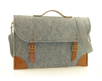 30% OFF!!!! Felt Laptop bag 15 inch with pocket, sleeve, Macbook Pro 15 inch, Laptop case, grey felt and brown leather