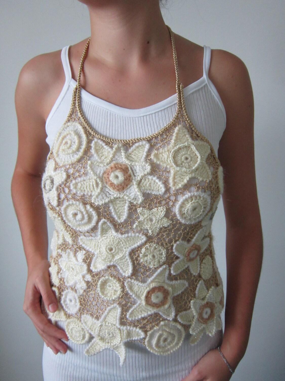 White and Beige Crochet Sweater Irish Crochet Top by MARTINELI
