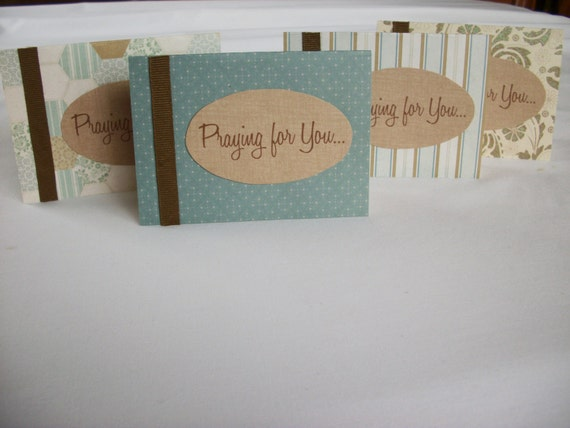 "Set of 4 ""Praying for You..."" Cards - Handmade Encouragement Cards"