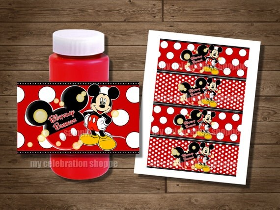 INSTANT DOWNLOAD Mickey Mouse Bubble Wrappers - Red Yellow Black Mickey Mouse Birthday Party Favors for Goodie Bags