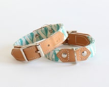 Green Geo Dog Collar, Leather dog collars, handmade with modern geometric print fabric. Unique dog collars handmade in the UK.