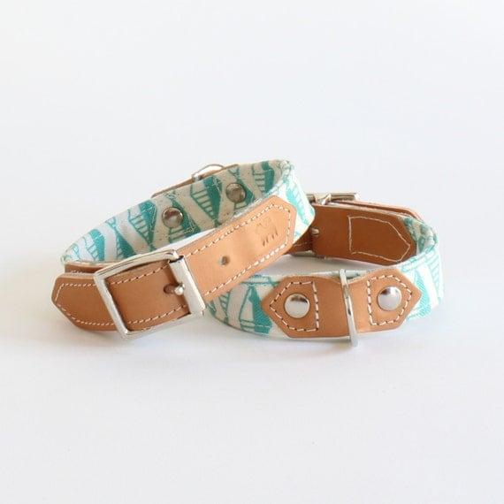 Green Geo Dog Collar Leather dog collars handmade by ...
