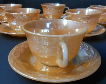 Peach Luster Cup and Saucer from Fire King