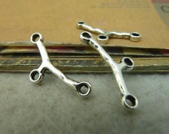 100 Branch Connectors 11x23mm Antique Silver