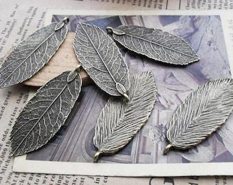 15% Off 10pcs 20x48mm Antique Bronze Leaves Charms Pendants AC478