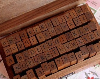 70pcs Alphabet Stamp Set - Wooden Rubber Stamp - Letter Stamp - Number Stamp - 70pcs in