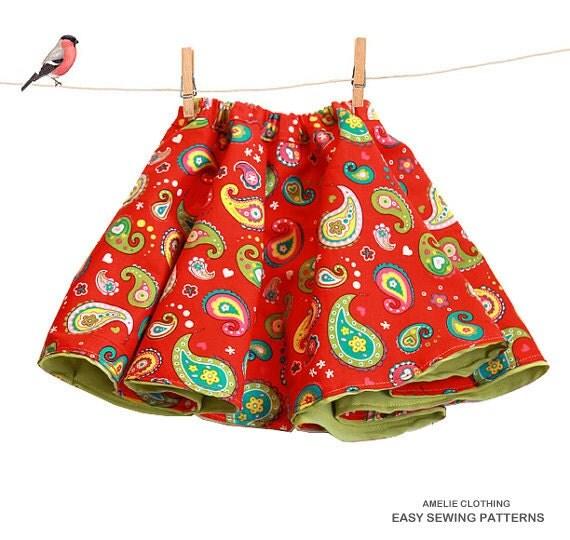 Toddler Full Skirt Sewing Pattern Reversible Girls Skirt Pdf