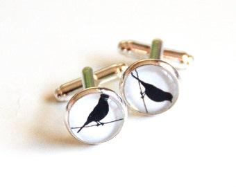 Men's Cufflinks - Black White Bird Silhoutte cufflinks -Bird on Wire Cufflinks- Men's Accessories -Handmade Cuff links