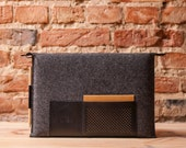 "Retro wool felt and leather case for MacBook 13' Retina and Air 13"" OSTFOLD"