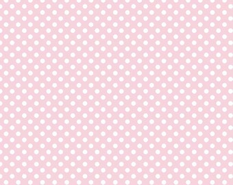 Baby Pink Small Dot Fabric by Riley Blake. Perfect for baby girl, nursery, quilts and more. 100% cotton, Dots C350-75