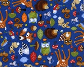 Timeless treasures forest animals blue 0,5 m pure Cotton fabric