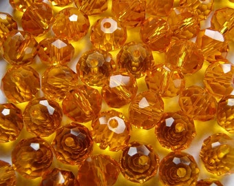 20 Orange Crystal Glass Faceted Round Beads 8mm