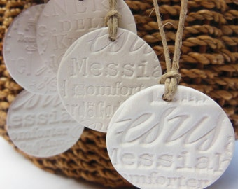 5 Small Handmade Ceramic Christmas Ornaments, Essential Oil Diffuser, Bisque Round White Pottery, Names for Christ, Jesus, Unglazed Gift Tag