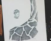 WHOA, GIRAFFE // 5x7 Printed Children's Illustration