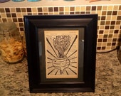 """Block Print - """"The Mighty Beet"""" on Vintage Cookbook Page, mounted on backer board - Buy 3 Get 1"""