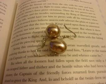 Dark Pink Pearl Earrings