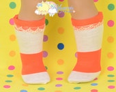 "Orange/Ivory Wide Stripes Beige Lace Trim Cotton Doll Socks for 18"" American Girl dolls"