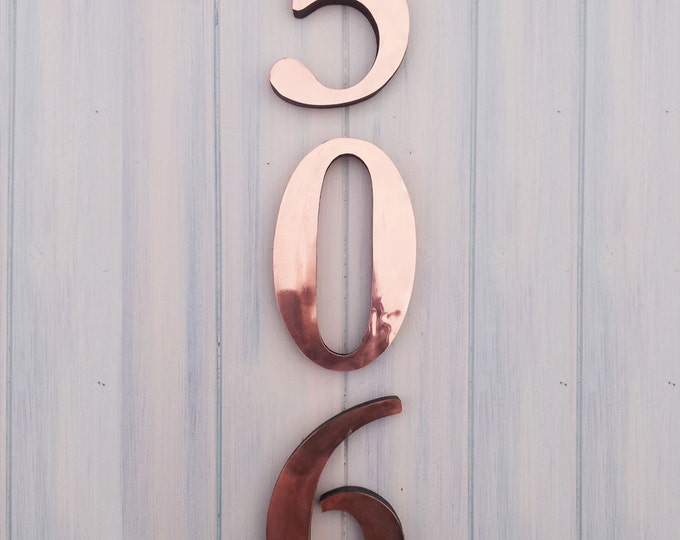 "3D Block Garamond Polished Copper numbers , 3 nos. x  6""/150 mm high marine laquered"
