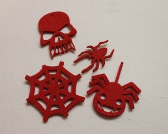Felt Halloween House Decor Frigde Magnetic set of 4 Skull Spiders Cobweb Ghost