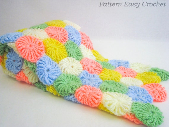 Baby blanket yo-yo puff crochet pattern gift for newborn