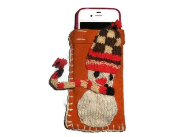Orange iPhone 5 Case, Wool IPhone Cover, Cell Phone Case, Cozy Iphone Snowmen