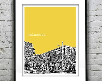 Rhinebeck New York Poster Print Skyline Art NY Downtown Version 2