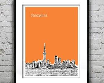Shanghai China Poster Print Art City Skyline Version 1