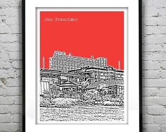San Francisco Poster Print Skyline Art California CA Version 3