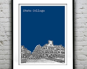State College Skyline Poster Print Art Pennsylvania