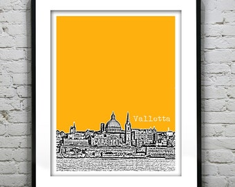 Valletta Malta City Skyline Poster Art Print Southern Europe