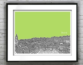Bern Switzerland Poster City Skyline Art Print