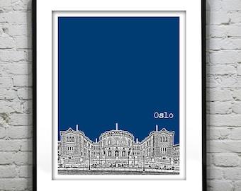 Oslo Norway City Skyline Poster Art Print