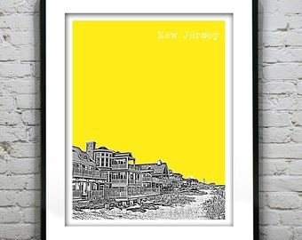 New Jersey Shore Poster Print Art  NJ Skyline Jersey Shore Version 2