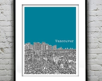 Vancouver BC Poster Print City Skyline Canada Art Print British Columbia Version 3