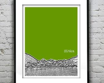Presidents Day Sale 15% Off - Sitka Alaska Skyline Poster Art Print Version 2