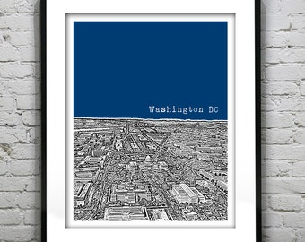 Washington DC Skyline Poster Art Print Washington Monument Mall Version 3