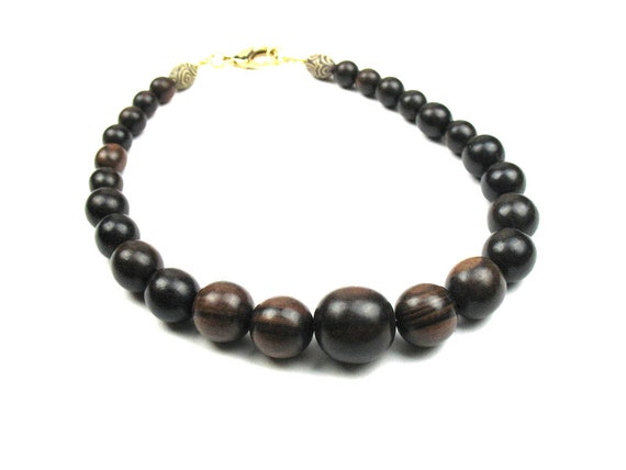 Wood Necklace in Brown Ebony with Graduated Beads and Polymer Clay Tubes / Womens Gift / Gift for Her by elle and belle