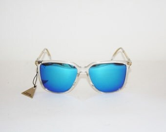 Vintage Sunglasses Aprilia Red Rose 16 Squared Clear Frame with New Mirrored Lens Oakley quality. NOS