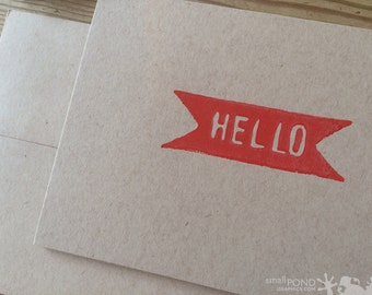 Hello Banner -- Block Print Notecard in red and kraft