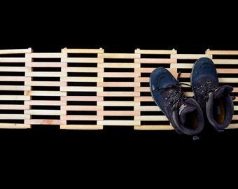 Wide Natural Salvaged Wood Doormat Rectangle, Reclaimed Wood Double Door Entry Mat, Wooden Patio Mat
