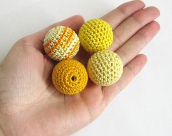 Crocheted beads 27 mm 4pc handmade round yellow shades