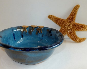 Sandpiper Serving Bowl, Rustic Hand Sculpted California Ocean Sand Pipers, Wild Crow Farm Pottery