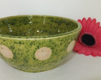 Little Green Polka Dot Bowl, Handmade Ceramic Pottery
