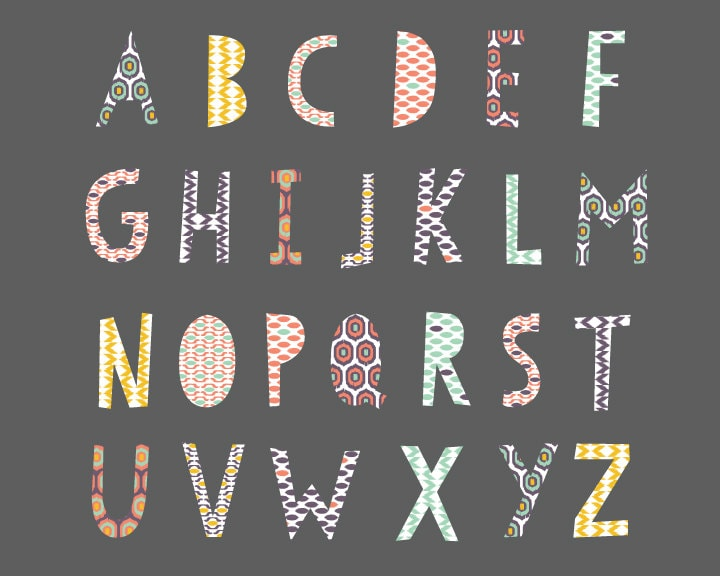 Alphabet wall decals alphabet fabric wall decals ikat for Party wall act letter to neighbour